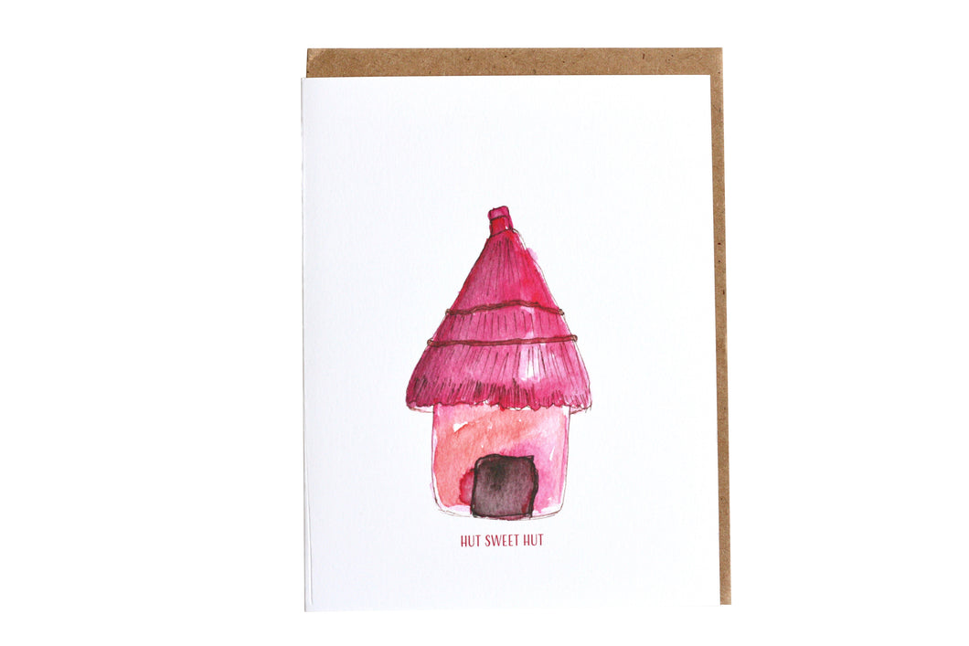 Pink Hut Greeting Card, Hut Sweet Hut Greeting Card, Housewarming gift, housewarming card, Handmade Greeting Card, Hand Painted Greeting Cards, Watercolor Art Pink Hut, Made in New Orleans