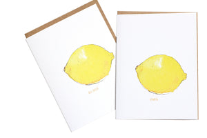 Fruit Greeting Card Collection, Lemon Greeting Card, Stationery and Gifts, Minimalist Print collection, Paper & Party Supplies, Greeting Cards,  Surprise card, Gifts for her, unisex gifts, blank card set, set of illustrated cards