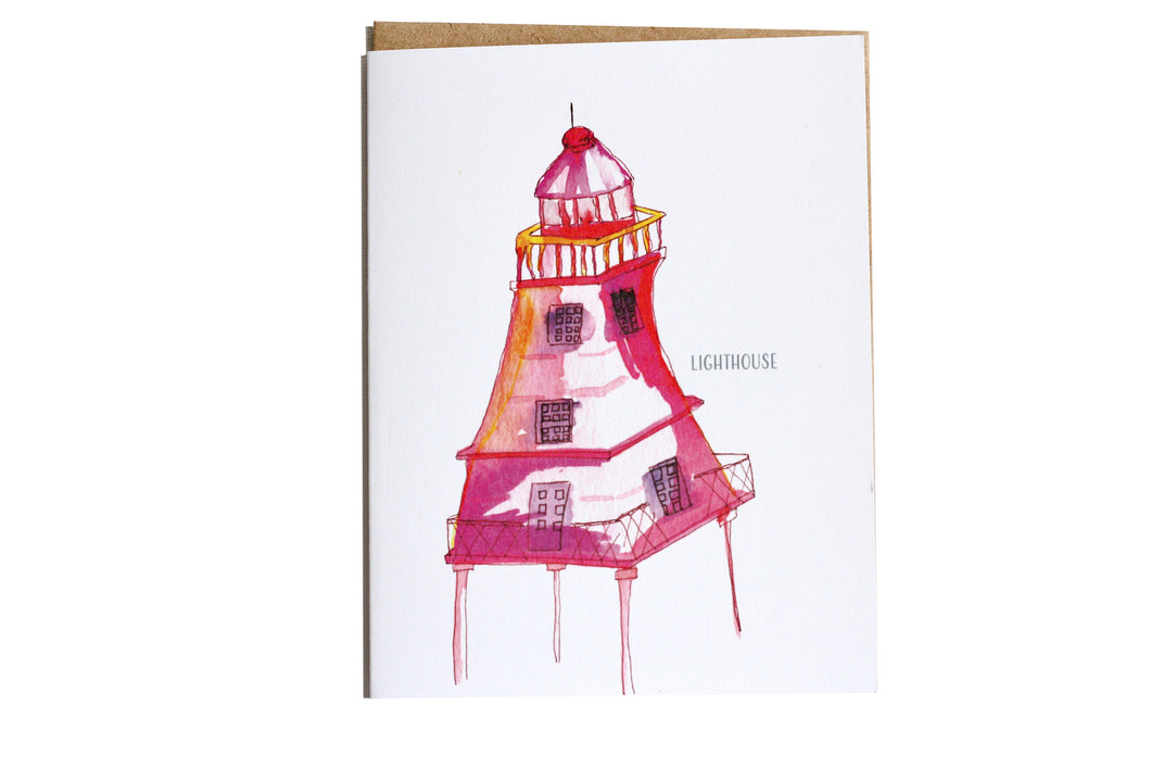Lighthouse Greeting Card, Blank Card, Pink Lighthouse, Paper & Party Supplies, watercolour cards, pink lighthouse greeting card
