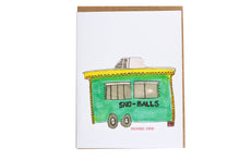 Load image into Gallery viewer, Sno-ball Stand Greeting Card, Food Card, Summer Card, Summer Greeting, New Orleans Confection Card, hand painted illustration, watercolor art card, Food Cart Greeting Card