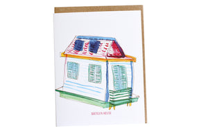 Shotgun House Greeting cArd, Moving Cards, moving house card, new house card, house warming card, FIRST TIME BUYERS, Congratulations Card, MORTGAGE CARD, HOUSEWARMING CARD, New House card, New Orleans House Card, Shotgun House, Watercolor Art, house warming gift