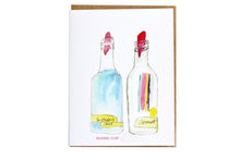 Load image into Gallery viewer, New Orleans sno-ball syrup greeting card by Charlotte Aquarius; snowball syrup greeting card, New Orleans greeting card, watercolor greeting card, handmade greeting card; hand painted greeting card