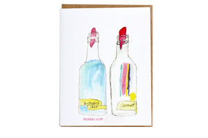 New Orleans sno-ball syrup greeting card by Charlotte Aquarius; snowball syrup greeting card, New Orleans greeting card, watercolor greeting card, handmade greeting card; hand painted greeting card
