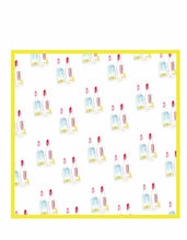 Load image into Gallery viewer, vibrant colored scarf, yellow trim scarf, yellow scarf, cotton scarf, snowball syrup scarf, syrup scarf, pattern scarf, square cotton scarf, slim scarf, fun and playful scarf, Silk Neckerchief, Bright color scarves