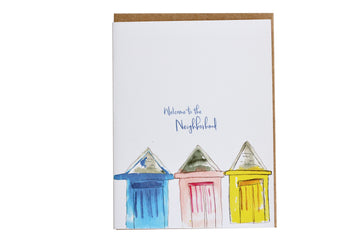 Welcome to the Neighborhood Greeting Card, New Home Card, Blank Note Cards, Housewarming Gifts, Watercolor Art Card, house-warming gifts, unisex gifts, stationery lovers gifts, gifts for post it lovers, stationery gifts for him, stationery freak