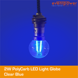2W PolyCarb Clear Blue dimmable B22 Bayonet