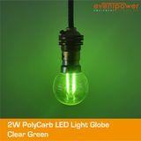 2W PolyCarb Clear Green dimmable B22 Bayonet