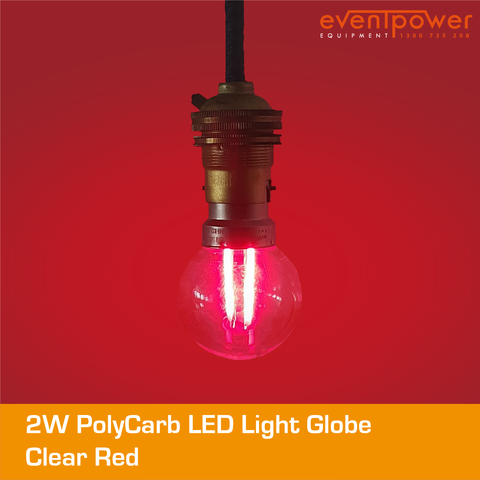 2W PolyCarb Clear Red LED dimmable B22 Bayonet
