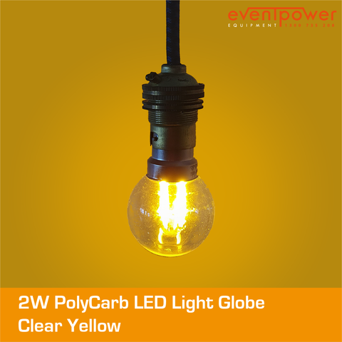 2W PolyCarb Clear Yellow LED dimmable B22 Bayonet