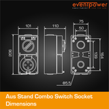 Aus Stand Combo Switch Socket 32A 4 PIN