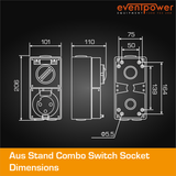 Aus Stand Combo Switch Socket 20A 3 PIN