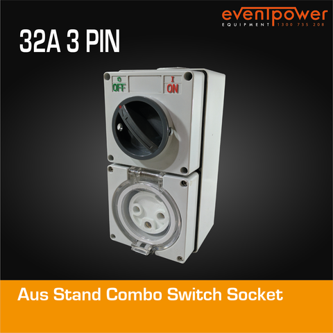 Aus Stand Combo Switch socket 32A 3 PIN