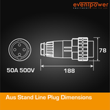 Aus Stand Line Plug 50A 4 PIN