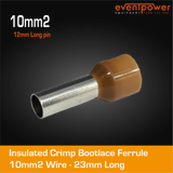 10mm Bootlace Short Brown 12mm ferrule 100pk