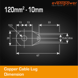 Copper Cable Lug - 120mm Lug 10mm Hole