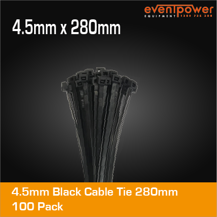 4.5mm Black Cable Tie 280mm 100 pack