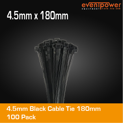 4.5mm Black Cable Tie 180mm 100pk