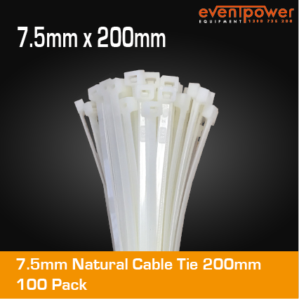 7.5mm Natural Cable Tie 200mm 100 pack
