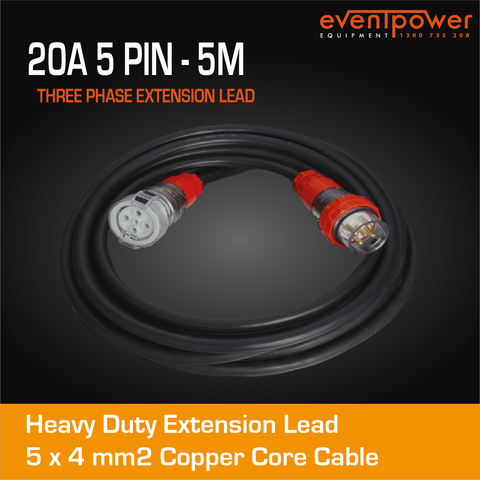 20A 3 Phase 5 Pin Extension Lead (5M)