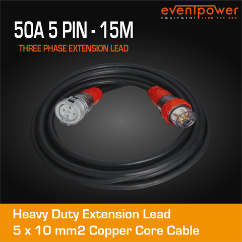 50A 3 Phase 5 Pin Extension Lead (15M)