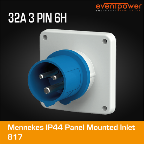 Mennekes IP44 Panel Mounted Inlet - 32A 3 PIN