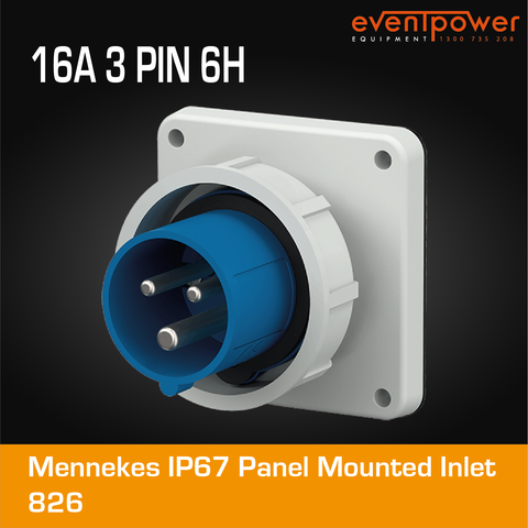 Mennekes IP67 Panel Mounted Inlet - 16A 3 PIN