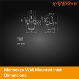Mennekes IP44 Wall Mounted Inlet - 16A 3 PIN