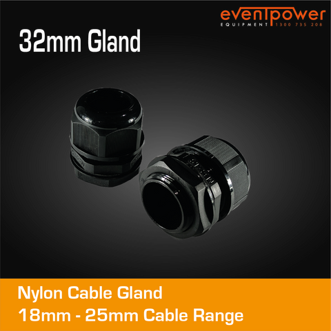 32mm Nylon Cable Gland Black Premium 18 - 25 mm