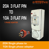 20A Flat pin to 10A Flat pin single phase