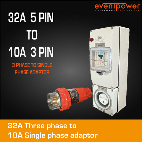 32A 3 Phase to 10A Flat Pin Single Phase