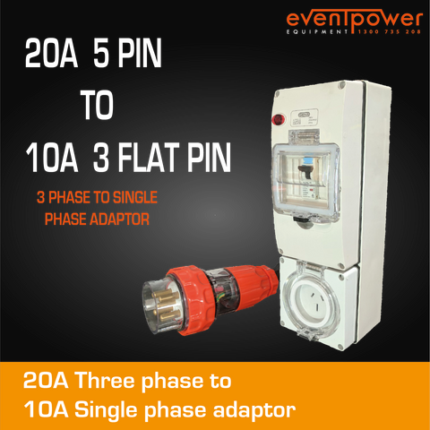 20A 3 Phase to 10A Flat Pin Single Phase