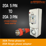 20A 3 Phase to 20A Pin Single Phase