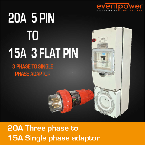20A 3 Phase to 15A Flat Pin Single Phase