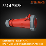 Mennekes IP67 Line Socket - 32A 4 PIN Reefer