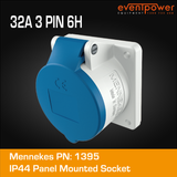 Mennekes IP44 Panel Mounted Socket - 32A 3 PIN