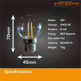 2W PolyCarb Clear Warm White LED dimmable B22 Bayonet