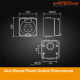 Aus Stand Panel Outlet 20A 3 Flat PIN
