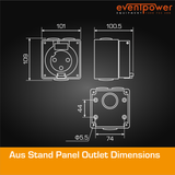 Aus Stand Panel Socket 20A 3 Round PIN