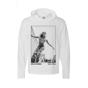 She Is Coming Photo Pullover Long Sleeve Tee White-MILEY CYRUS