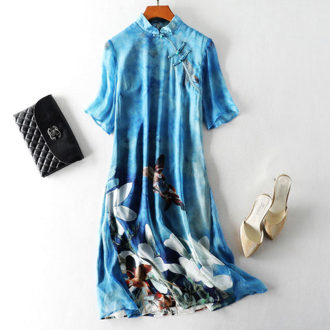 Mulberry Silk Print A-line Dress