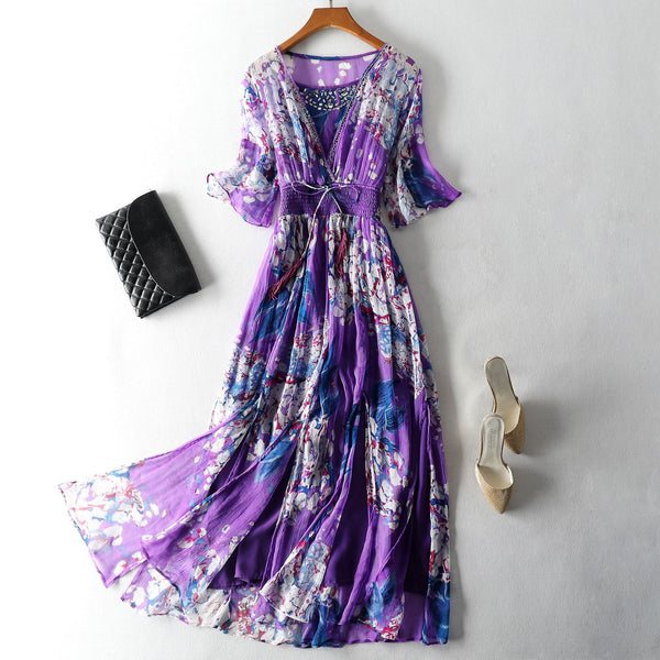 Bohemian Mulberry Silk Beach Maxi Dress