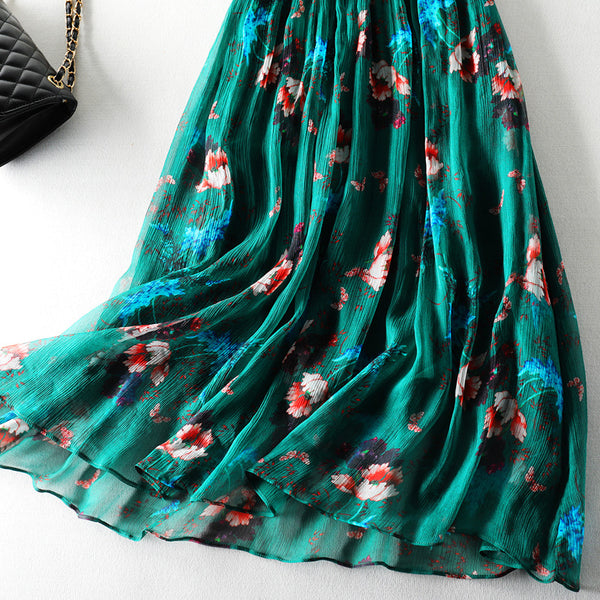Emerald Floral Mulberry Silk Maxi Dress