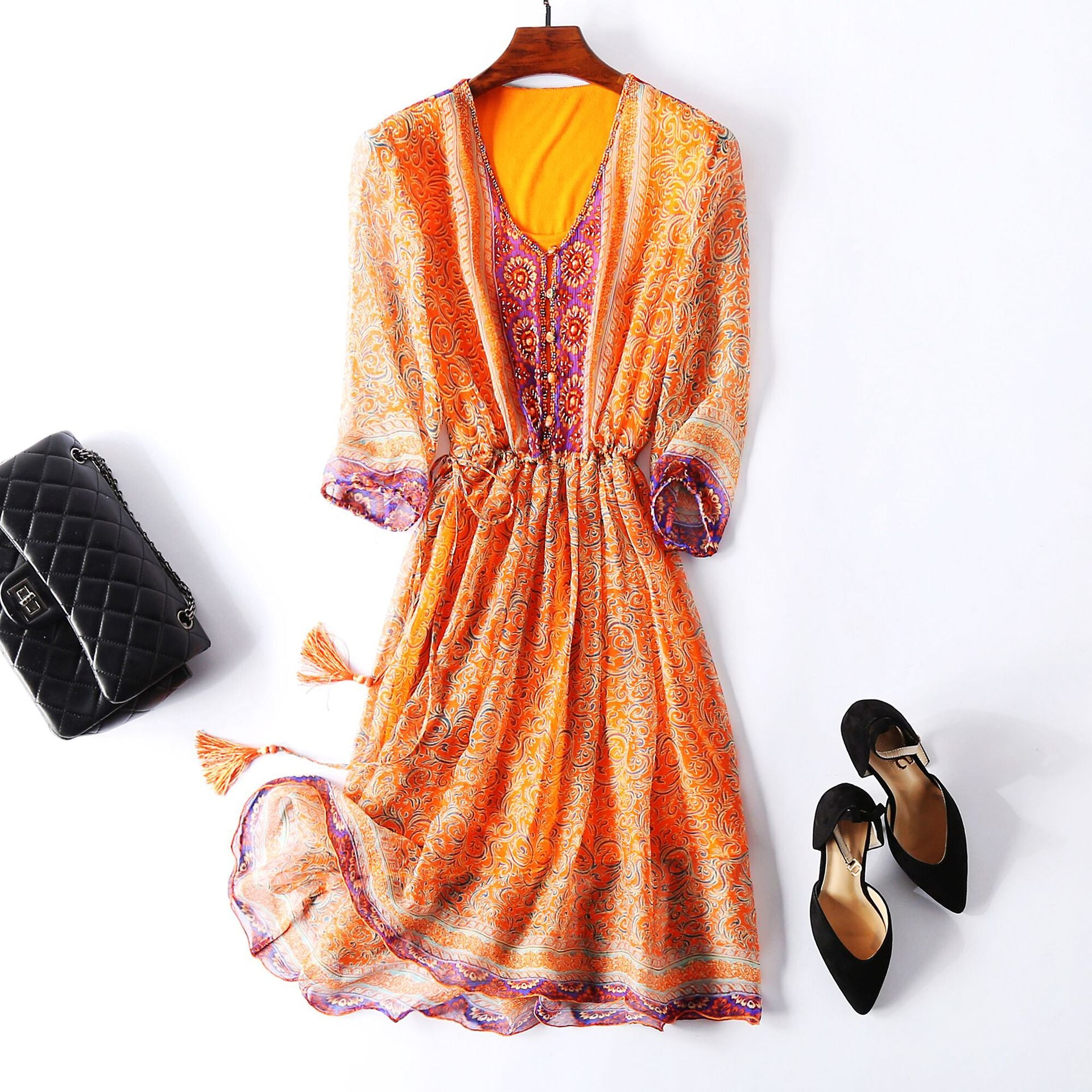 Bohemian Mulberry Silk Midi Dress