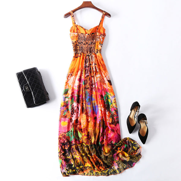 Sling Backless Mulberry Silk Maxi Dress