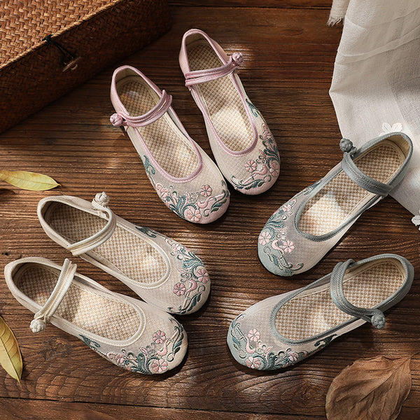 Mesh Linen Embroidered Shoes