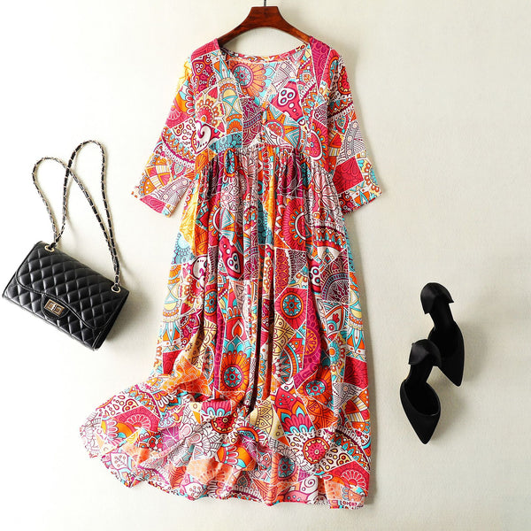 Floral Mulberry Silk Maxi Dress