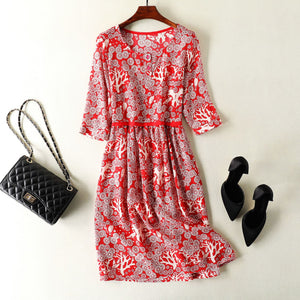 Mulberry Silk Print OL Midi Dress