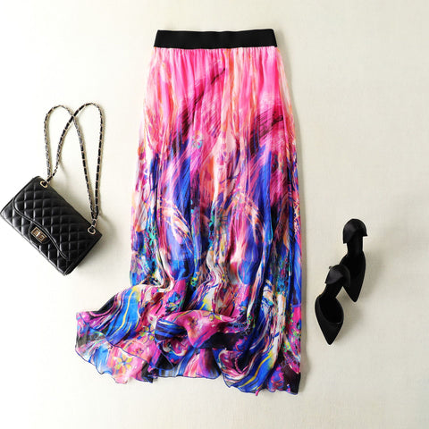 Printed Beach Mulberry Silk Skirt