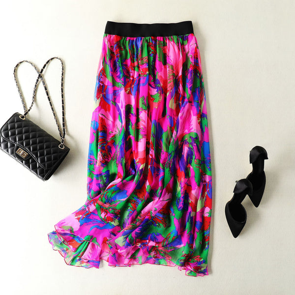 Printed Mulberry Silk Skirt