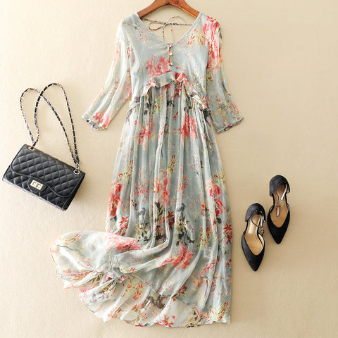 Silk Dress Bohemian Beach Maxi Dress